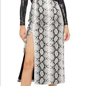 Topshop snake print leather slit skirt